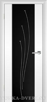 Межкомнатная дверь Стиль 1.1 черный триплекс с гравировкой Лучи