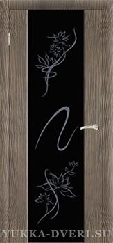 Межкомнатная дверь Стиль 1.1 Черный триплекс с рисунком Альмека