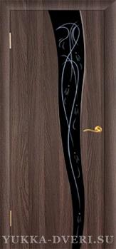 Межкомнатная дверь Стиль 4 черный триплекс с рисунком