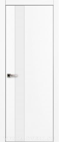Межкомнатная дверь Платинум 5. белая с металлической кромкой